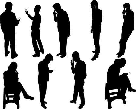 siluetas de mujeres: siluetas de personas con tel�fono - vector