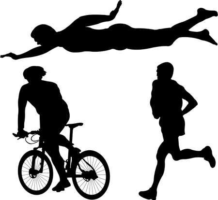 triathlon: triathlon silhouette - vector