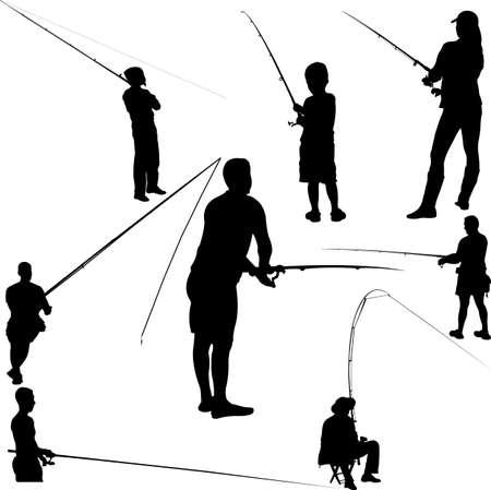 fishing silhouette: fishermen and fishing 2 - vector