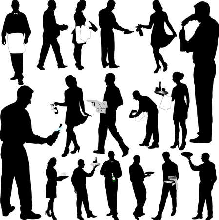 waiter: waiters and waitresses big collection - vector