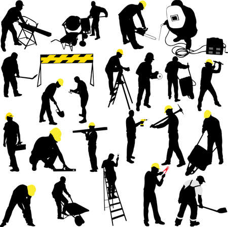 electrical contractor: construction workers silhouettes collection - vector