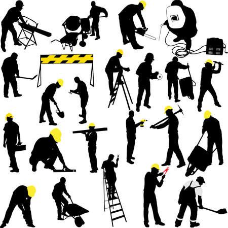 escaleras: trabajadores de la construcción siluetas colección - vector
