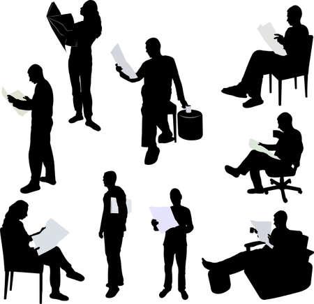 personas sentadas: hombre y mujeres que leen periódicos siluetas - vector
