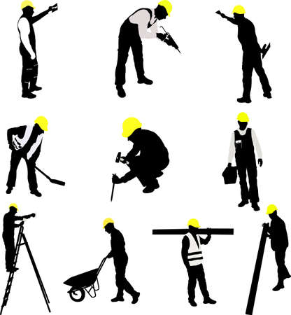 work worker: workers silhouettes collection - vector Illustration