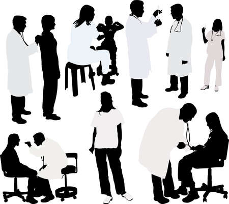 black professional: doctor and patient silhouette - vector illustration