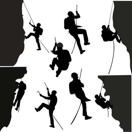 roccia arrampicatori silhouette insieme - vettoriale
