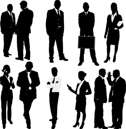 business woman phone: business people silhouettes - vector Illustration