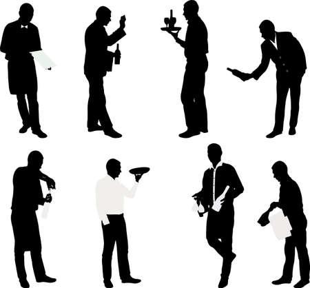 silueta hombre: conjunto de camareros con bandejas - vector
