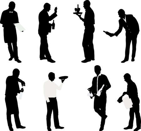 restaurant staff: set of waiters with trays - vector