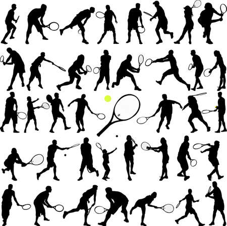 backhand: tennis players big collection - vector