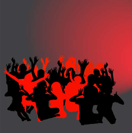 crowd happy people: Happy children silhouettes - vector