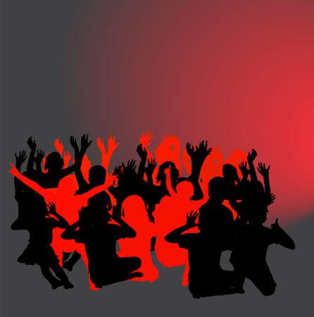 Happy children silhouettes - vector