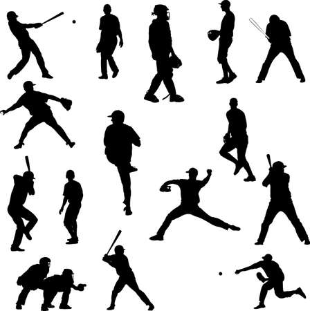 plate: Baseball player vector silhouette Illustration