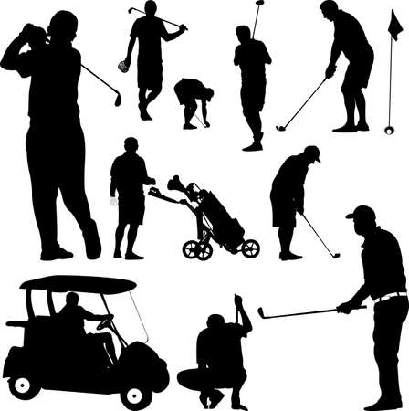 shot put: Golf Player Silhouette on white background