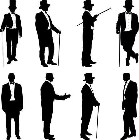 silhouette of a gentleman in a tuxedo - vector