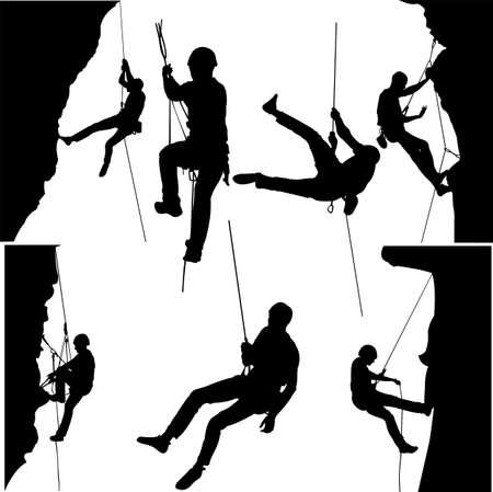 escaladores de roca silueta colección. Ilustración de vector
