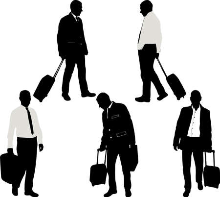black business men: businessman with traveling bags - vector
