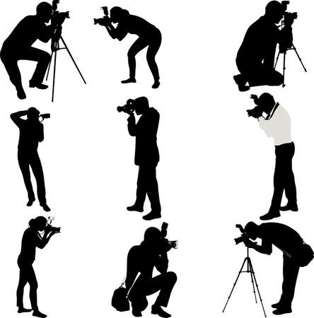 sharpness: photographers silhouettes collection - vector