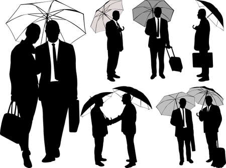 Line Art Umbrella : Black silhouettes of women under the umbrella. royalty free cliparts