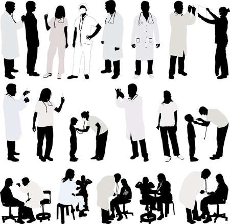 medical doctors: Doctor and patient big collection silhouette - vector