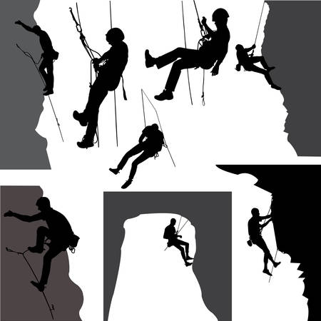 mountaineering: Rock climbers silhouette collection - vector