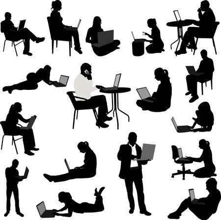 woman laptop: people working on their laptops silhouettes - vector