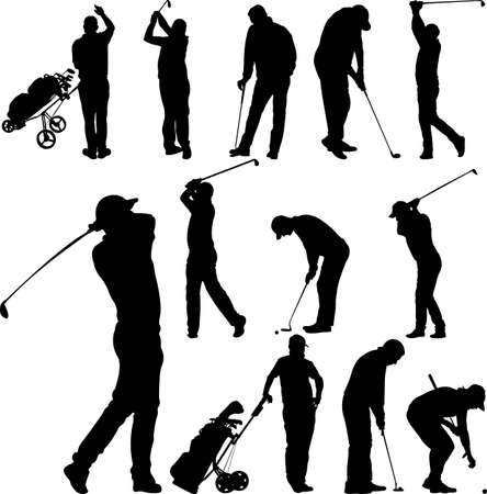 shot put: Golf players and equipment silhouettes - vector