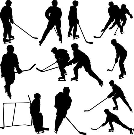 hockey goal: hockey player collection - vector