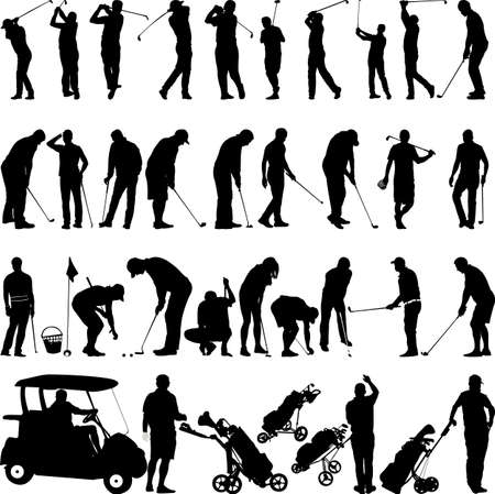 Golf players and equipment big collection Vettoriali