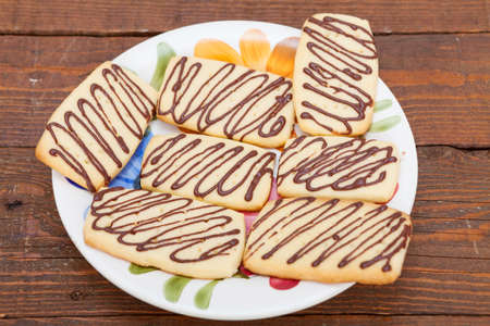 biscuits: Sweet butter biscuits with chocolate topping