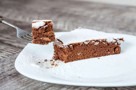 chocolate cake: Sweet chocolate cake slice Stock Photo