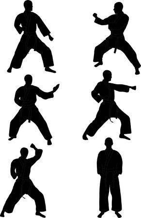 kata: karate silhouettes collection  vector Illustration