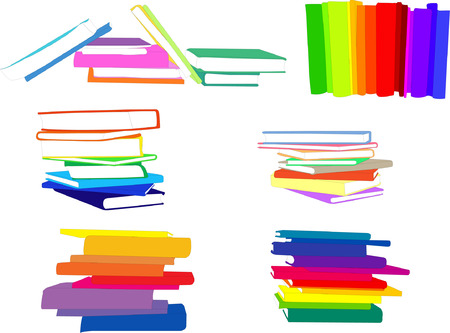 a literary sketch: piles of books collection - vector