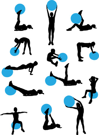 woman pilates workout collection - vector