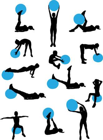 pilates ball: woman pilates workout collection - vector