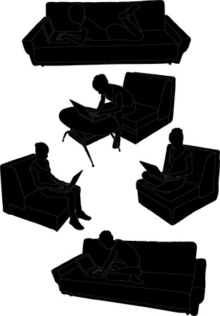 armchair shopping: woman is relaxing with laptop collection - vector