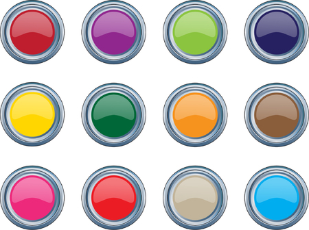 shiny buttons: metallic shiny buttons collection - vector Illustration