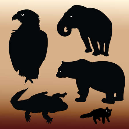 Silhouettes of Animals Vector Vector