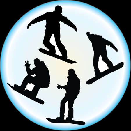 Silhouettes of Snowboarders Vector Vector