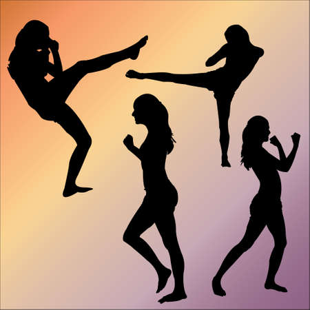 Silhouettes of Woman sports Vector