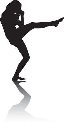 Silhouette of black Woman kicking Vector