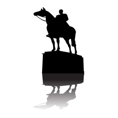 horse warrior: Serbian warrior on horse monument  Illustration