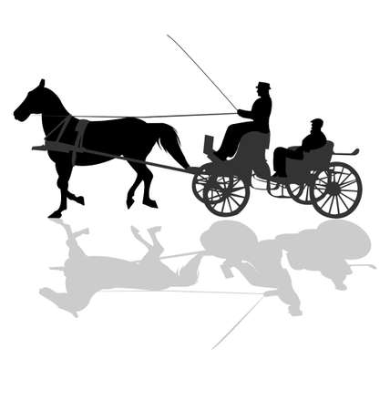 horse and carriage: Horse Carriage Silhouette