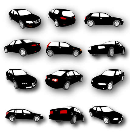 Set of Car Silhouettes Vector