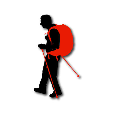 hiker: Silhouette of hiker with backpack and sticks