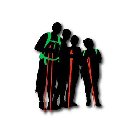 backpacks: Hikers posing with backpacks and sticks Illustration