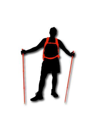 hiking trail: Silhouette of hiker with backpack and sticks