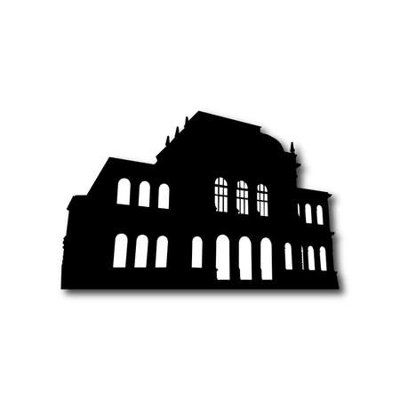 building silhouette: Silhouette of old building