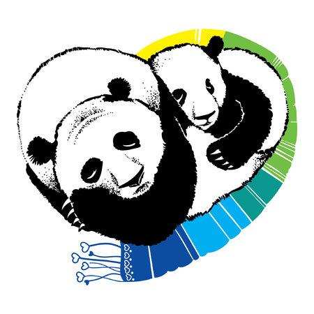 bearcat: Hand drawn illustration of sleeping panda