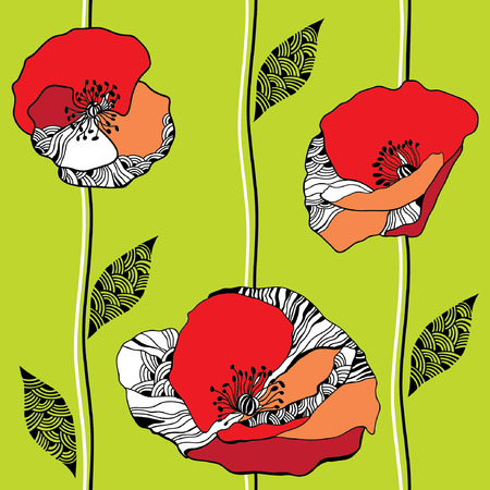 Beautiful seamless pattern with red poppies on a light green background  イラスト・ベクター素材